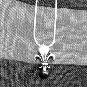 Sterling Fleur de Lis w/ Black Pearl Pendant